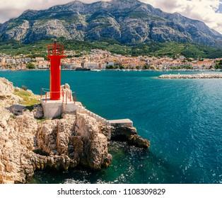 Town of Makarska on the Dalmatian coast, Croatia.