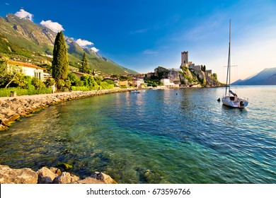 Town of Malcesine castle and waterfront view, Veneto region of Italy, Lago di Garda