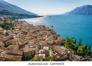 Town of Malcesine on Lago di Garda skyline view, Veneto region of Italy. Aerial view, top view