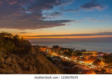 The town of Mancora peru during sunset