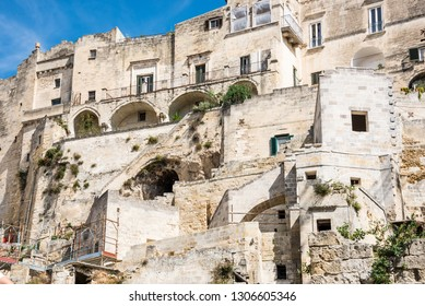 The town of Matera in Italy with historic buildings. Unesco heritage site
