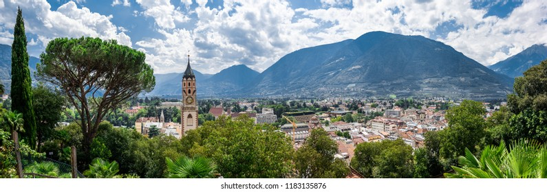 The town of Meran sorrounded by mountains in South Tyrol