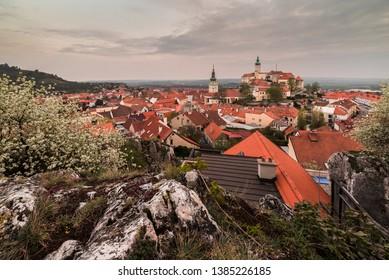 Town of Mikulov with Mikulov Castle in South Moravia, Czech Republic