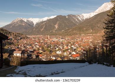 Town of Mittenwald in Bavaria in warm evening sun