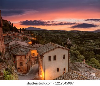 The town of Montepulciano and the surrounding area in the evening at sunset, Tuscany, Italy