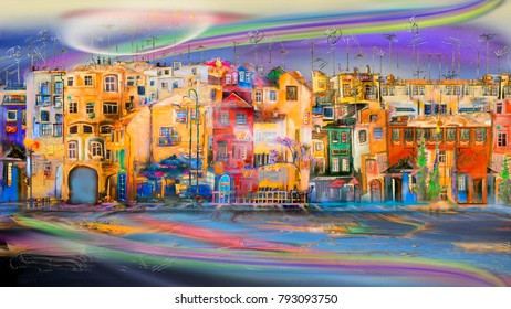 Town near the sea and surreal sky