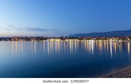 Town of Novalja by night, Croatia, Adriatic sea, Europe