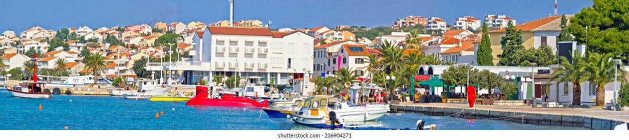 Town of Novalja waterfront panorama, Island of Pag, Dalamtia, Croatia