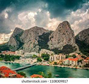 The town of Omis with the Cetina river and mountains, Croatia.
