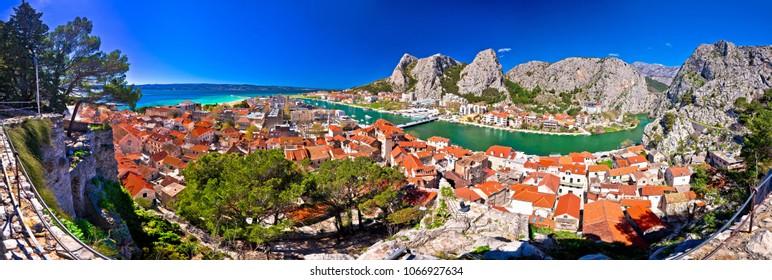 Town of Omis and Cetina river mouth panoramic view, Dalmatia region of Croatia