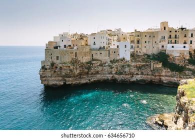 Town on rock in the sea, Polignano a mare, italy. Travel destination concept.
