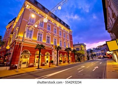 Town of Opatija evening streetscape, classic architecture of Kvarner, Croatia