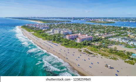 The town of Palm Beach Shores, Singer Island, Florida, USA. The town of Palm Beach and Palm Beach Inlet in background.