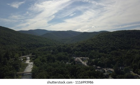 Town of Phoenicia and Esopus Creek nestled in the Catskill Mountains