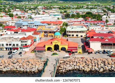 Town at the port, Basseterre, Saint Kitts and Nevis.
