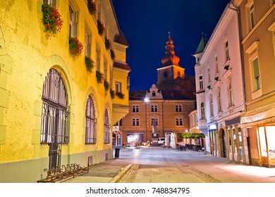 Town of Ptuj historic street evening view, northern Slovenia