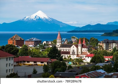 Town of Puerto Varas with volcano Osorno on the background. Chile