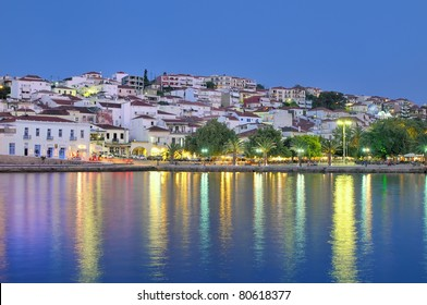 The town of Pylos, southern Greece, captured at dusk. Pylos is located in Messinia perfecture, Greece.
