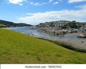 The town of Salcombe in Devon at low tide