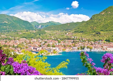 Town of Salo on Lago di Garda lake view, Lombardy region of Italy