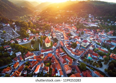 Town of Samobor aerial burning sunset view, northern Croatia