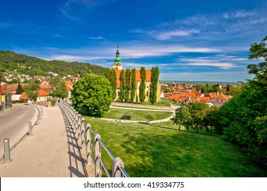 Town of Samobor church un green nature, northern Croatia
