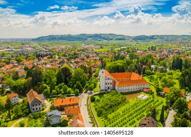 Town of Samobor in Croatia, catholic church and monastery, aerial view from drone