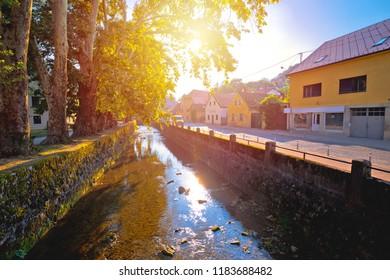 Town of Samobor river and park sun haze view, northern Croatia