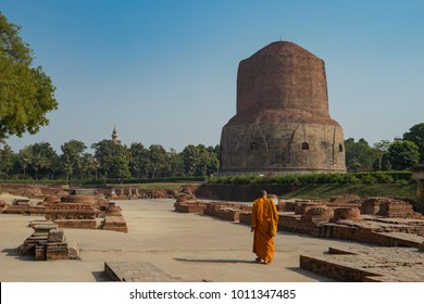 The town of Sarnath, an ancient stupa built in honor of the firs
