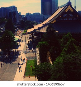 Town scapes in Asakusa Tokyo Japan. This is the view from the rooftop of building near the famous landmark in Asakusa.