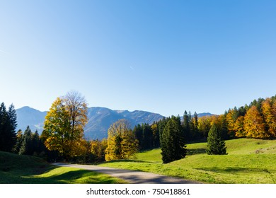 Town Schleching, view from Church Streichen, fall, sunny day