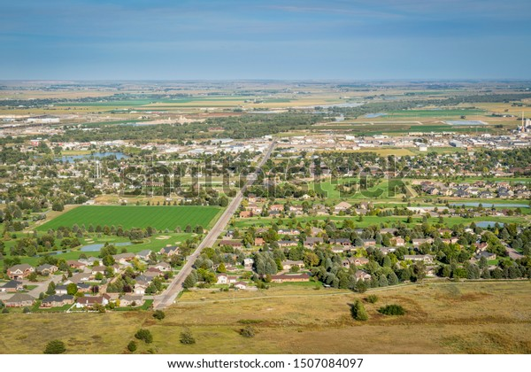 town of Scottsbluff and North Platte RIver in Nebraska, earial view from a summit of Scotts Bluff National Monument
