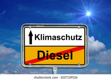 town sign with the german words climate protection and diesel