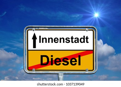 Town sign with the german words Diesel and downtown