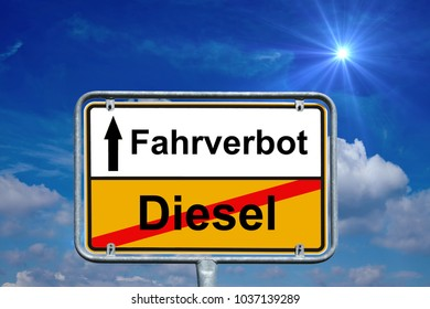 town sign with the german words diesel and driving ban