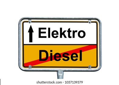 town sign with the german words diesel and electric
