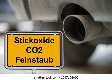 town sign with the german words nitrogen oxides, CO2 and fine dust