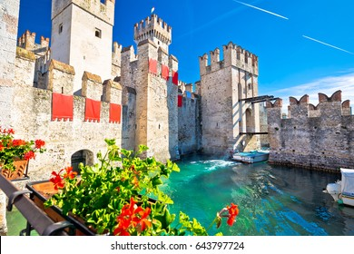 Town of Sirmione entrance walls view, Lago di Garda, Lombardy region of Italy