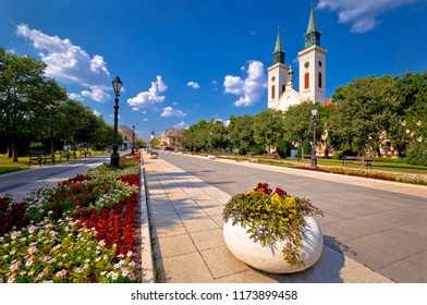 Town of Sombor square and church view, Vojvodina region of Serbia