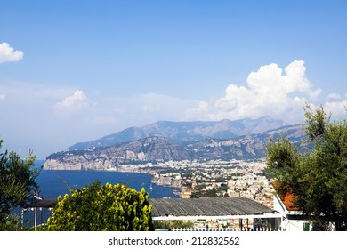 Town of Sorrento, Naples and the bay of Naples as seen from the mountain side of Sorrento.