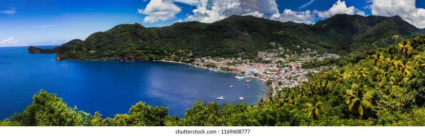 the town of Soufriere on the west coast of st Lucia in the shadow of the Pitons.