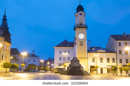Town square of Banska Bystrica after dusk, Slovakia