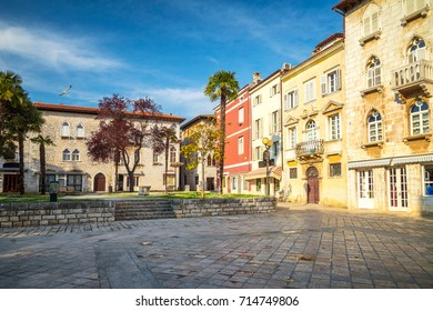 Town square with colorful facade of an old houses in Porec, Croatia, Europe.