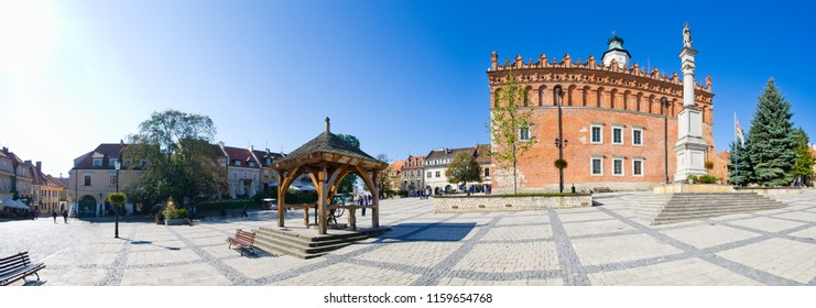 Town square and town hall in Sandomierz - Poland
