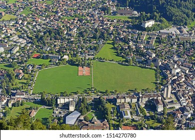 Town square  Interlaken from Harder Kulm Switzerland.