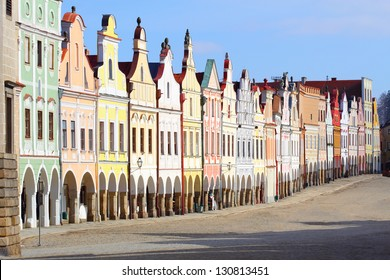Town square in Telc with renaissance and baroque colorful houses