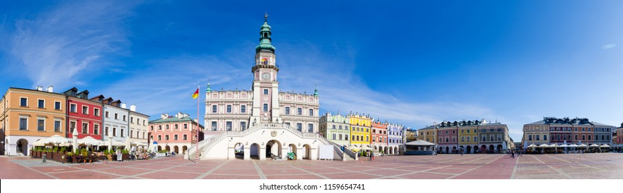 Town square of Zamosc, Poland