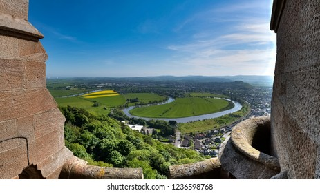Town of Stirling seen from above, Stirlingshire, Scotland UK