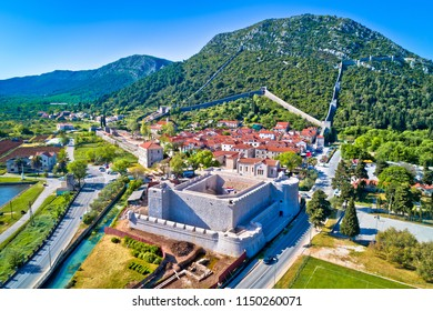 Town of Ston and historic walls aerial view, Peljesac peninsula, Dalmatia region of Croatia