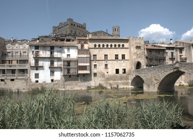 A town with a stone bridge
